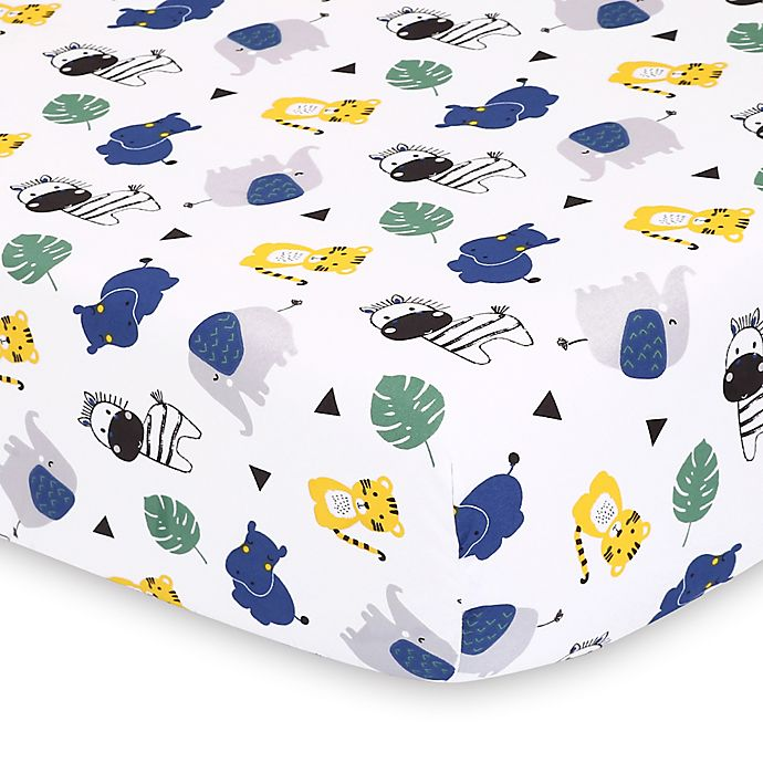 Ps By The Peanutshell 2 Pack Fitted Crib Sheets In Safari Black Chevron Buybuy Baby