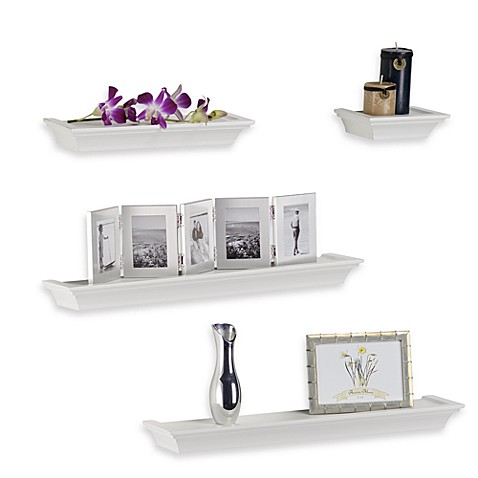 image of melannco 4 piece ledge set in white - Decorative Wall Shelves