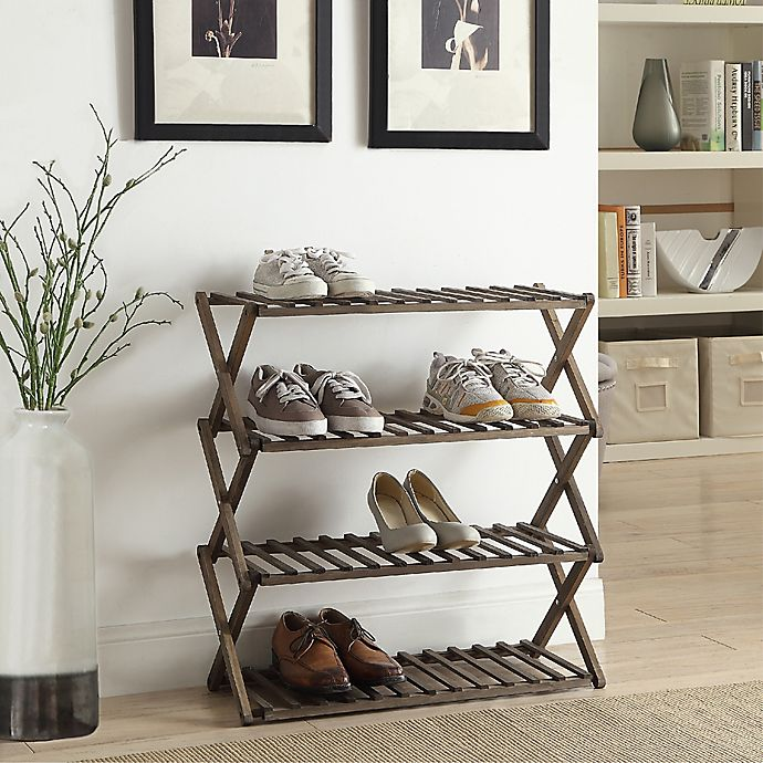 Lifestyle Home 4 Tier Solid Wood Foldable Shoe Rack In Dark Brown Bed Bath Beyond
