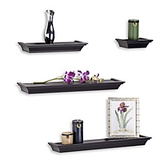 image of melannco 4 piece ledge set in black - Decorative Wall Shelves