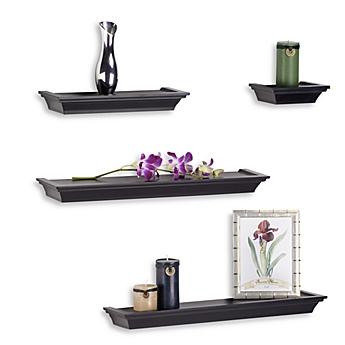 image of melannco 4 piece ledge set in black - Decorative Wall Shelves