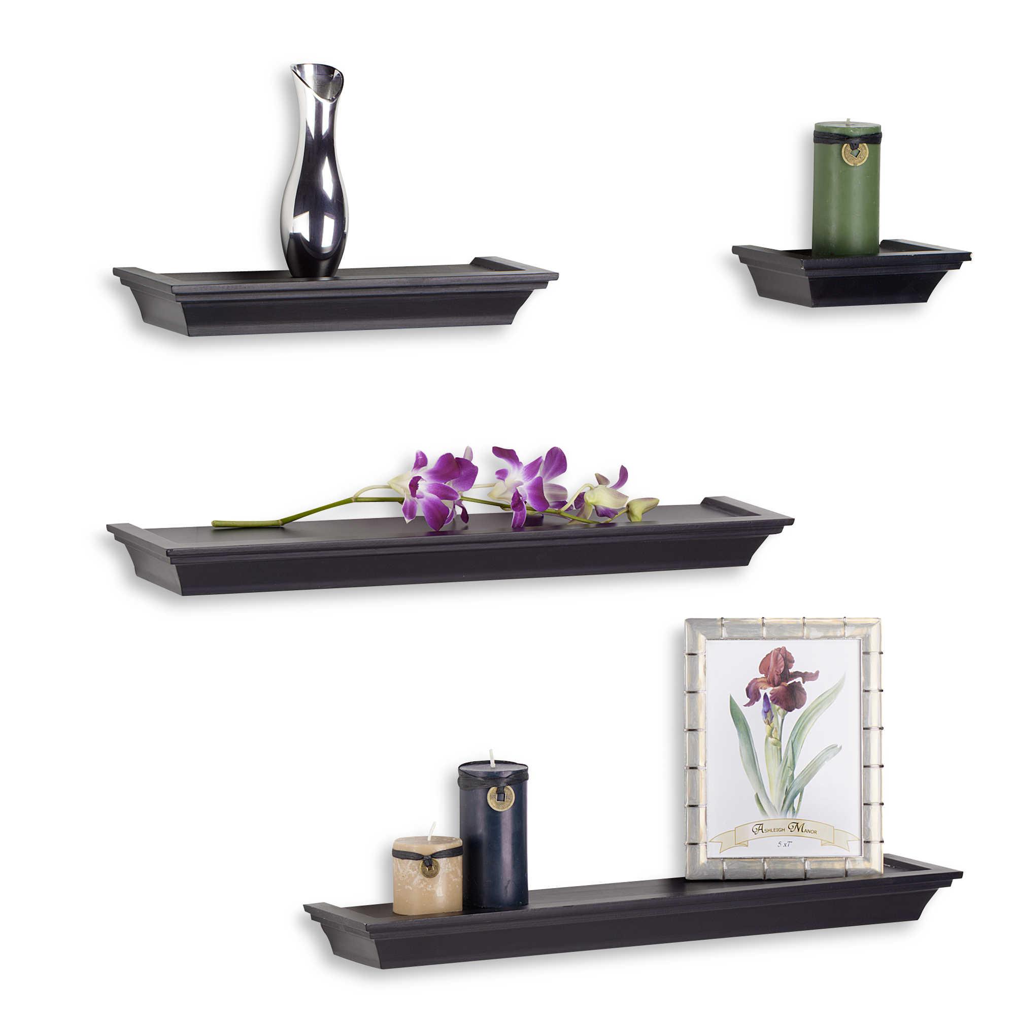 Design Decorative Shelves decorative wall shelves hooks corner bed bath beyond image of melannco 4 piece ledge set in black
