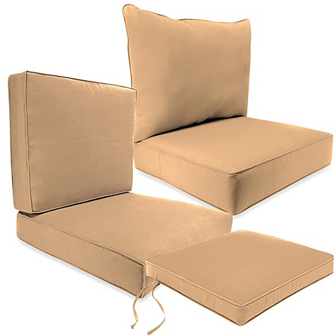 Outdoor Seat Cushion Collection In Sunbrellau0026reg; Canvas Camel