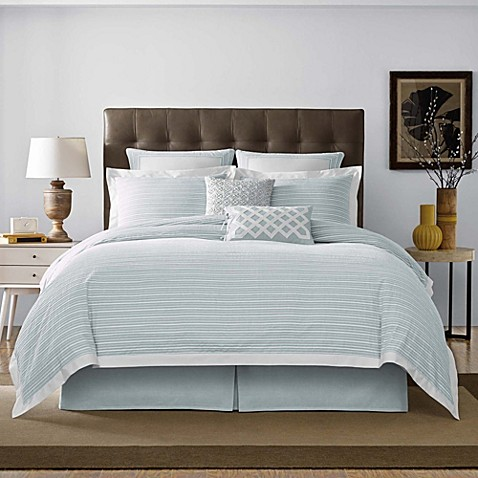 Real Simple 174 Soleil Duvet Cover In Aqua Bed Bath Amp Beyond