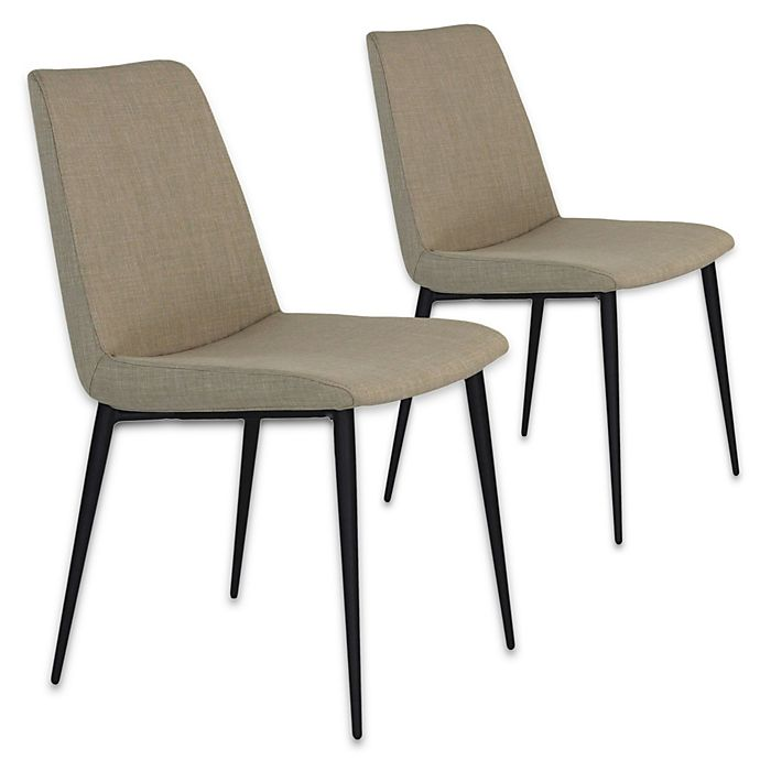 Moe S Home Collection Upholstered Dining Chairs In Cream White Set Of 2 Bed Bath And Beyond Canada