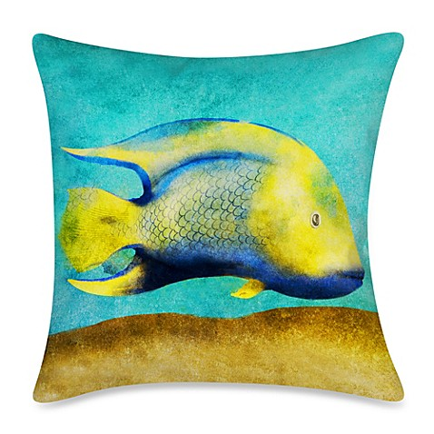 Square outdoor throw pillow in fish 1 bed bath beyond for Fish throw pillows