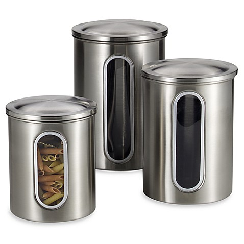 polder 174 brushed stainless steel window canisters set of 3 stainless steel kitchen canisters set of 3 in kitchen