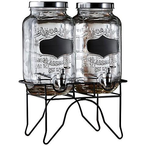 blackboard glass beverage dispenser with metal stand bed bath beyond. Black Bedroom Furniture Sets. Home Design Ideas