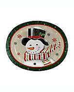Platones ovalados de papel Fiddlestix Snowman, 10 piezas