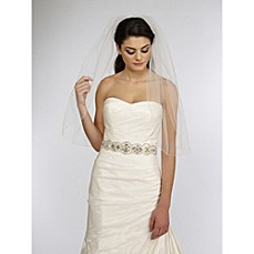 image of Single Tier Veil with Scattered Rhinestones in Ivory