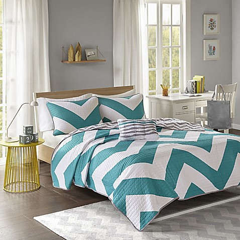libra reversible chevron comforter set in black white buy libra reversible chevron quilt set in blue 908