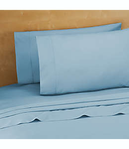 Set de sábanas king de algodón de 220 hilos en azul claro
