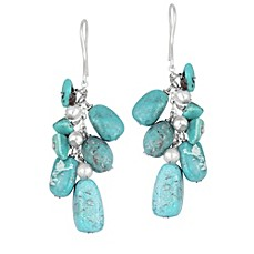 image of Sterling Silver Genuine Turquoise and Round Bead Drop Earrings