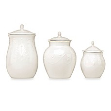 image of Lenox® French Perle™ 3-Piece Canister Set in White