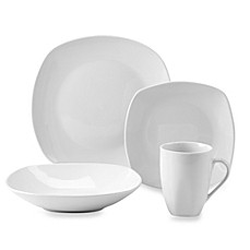 image of Tabletops Gallery® Quinto White Porcelain Square Coupe 16-Piece Dinnerware Set