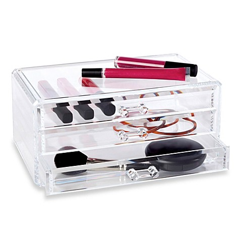 buy clear 3 drawer cosmetic organizer from bed bath beyond. Black Bedroom Furniture Sets. Home Design Ideas