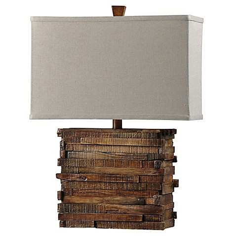 image of 1 light faux wood layered table lamp in natural - Lodge Decor