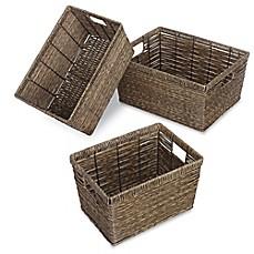 Whitmor Rectangular Rattique Baskets (Set of 3)  sc 1 st  Bed Bath u0026 Beyond & Storage Baskets Bins u0026 Basket Containers | Bed Bath u0026 Beyond