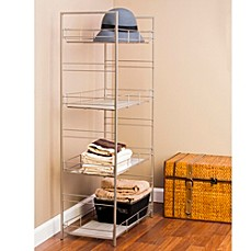 image of Adjustable 4-Tier Mesh Accent Shelf in Satin Nickel Finish