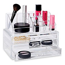 image of Deluxe 2-Piece 3 Drawer Cosmetic Organizer Set
