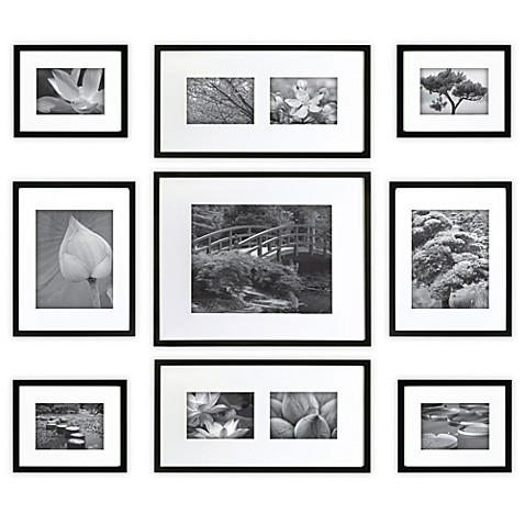 gallery perfect 9 piece matted wall frame kit bed bath beyond