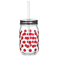 image of Red Dot 13 1/2 oz. Mason Jars with Lid and Straw (Set of 6)
