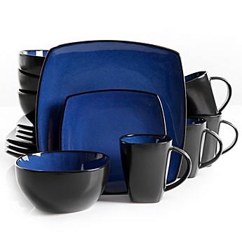 image of Gibson Home Amalfi 16-Piece Dinnerware Set in Blue  sc 1 st  Bed Bath \u0026 Beyond & Dinnerware Sets: Stoneware Square Dinnerware and more - Bed Bath ...