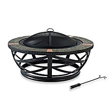 image of Crosley Glendale Round Slate Fire Pit in Black