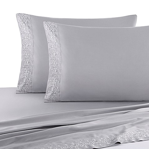 J Queen New York Luxembourg Sheet Set In Antique Silver