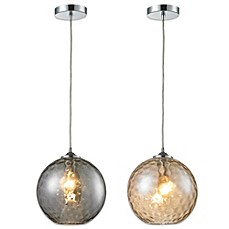 image of HGTV Home Watersphere 1-Light Pendant Light in Polished Chrome with Recessed Adapter Kit
