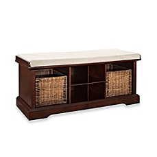 image of Crosley Brennan Entryway Storage Bench Bookcase in Mahogany