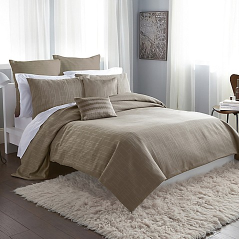 Dkny City Line Duvet Cover In Taupe Bedbathandbeyond Com