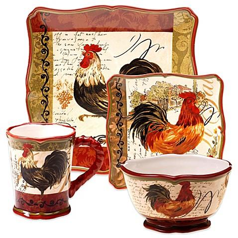 Certified International Tuscan Rooster Dinnerware Bed