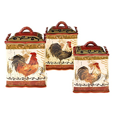 Certified International Tuscan Rooster 3-Piece Canister Set - Bed ...