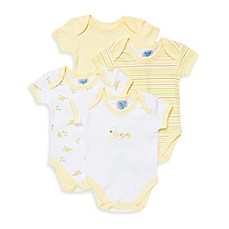 image of SpaSilk® 4-Pack Duck Print Bodysuits in Yellow/White