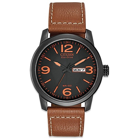 Citizen Men's Eco-Drive Sport Watch with Brown Canvas Strap