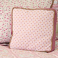 image of Caden Lane® Modern Vintage Girl Square Pillow in Pink