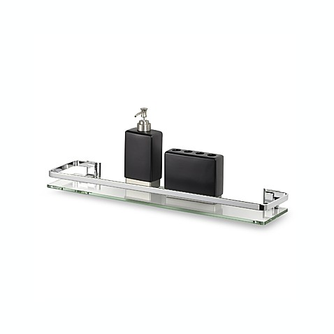 Chrome Glass Shelf With Rail Bed Bath Beyond
