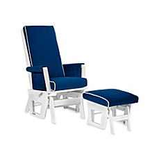 image of Dutailier® Contemporary Wood Glider and Ottoman in White/Royal Blue
