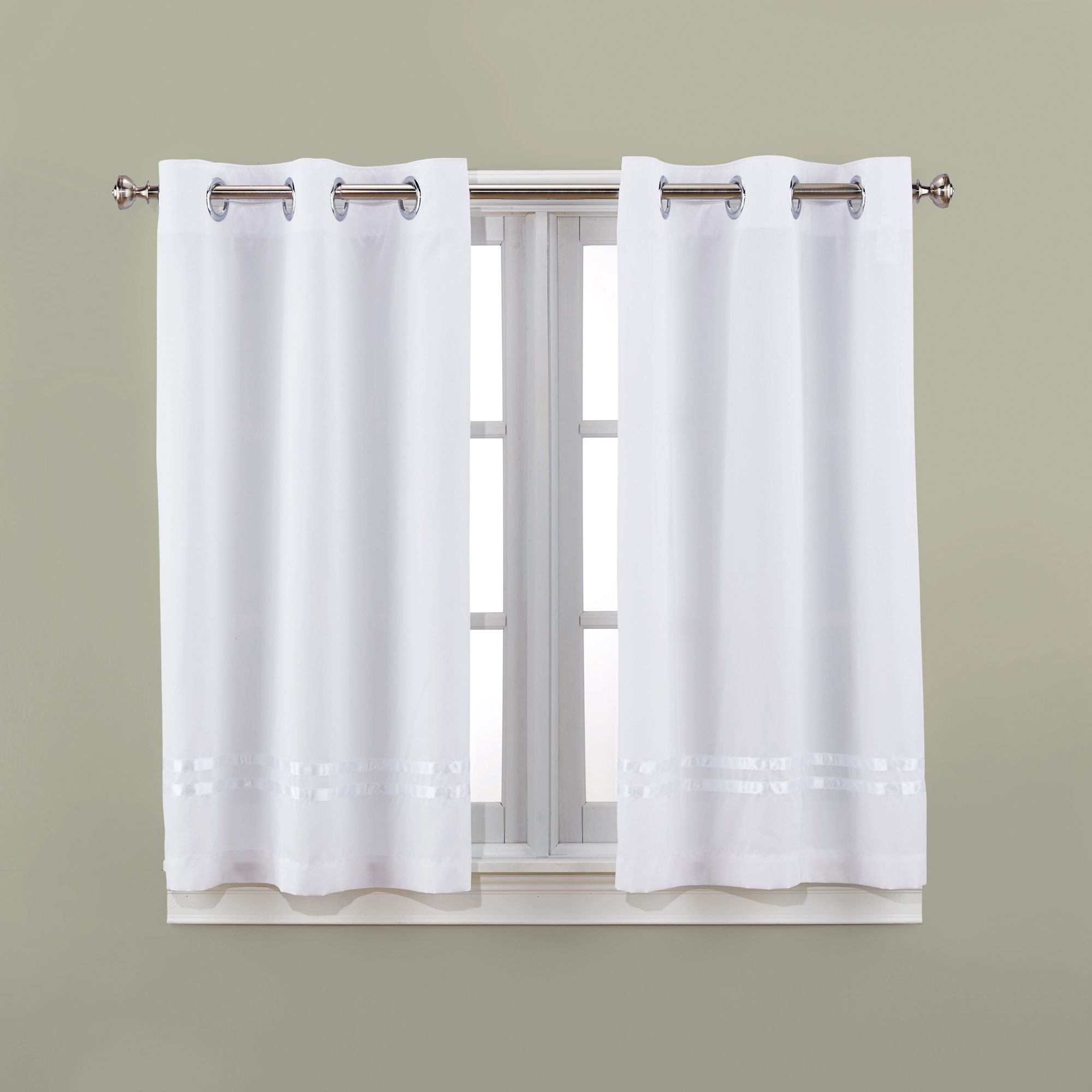 Escape The Bathroom Dental Floss hookless® escape 45-inch bath window curtain panels - bed bath
