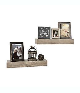 Repisas de madera Wall Solutions de 38.1 cm en gris rústico, Set de 2