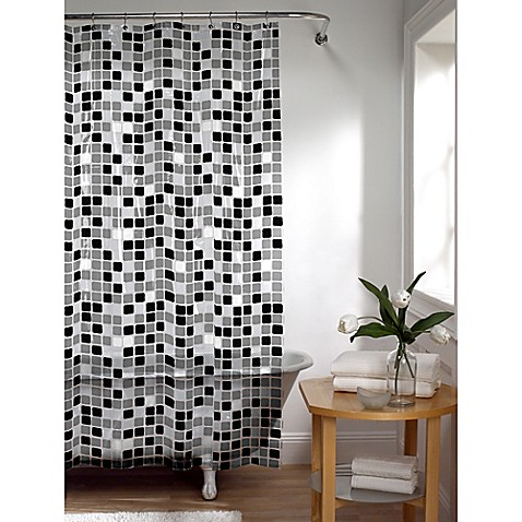 tiles shower curtain in black/white - bed bath & beyond