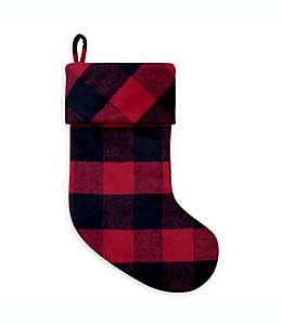 Bota navideña con diseño a cuadros en rojo/negro