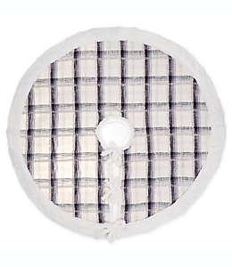 Pie de árbol de algodón a cuadros color azul/gris