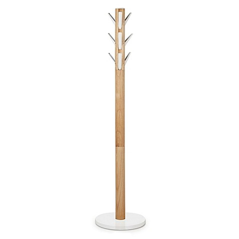 Umbra 174 Flapper Standing Coat Rack In White Natural Bed