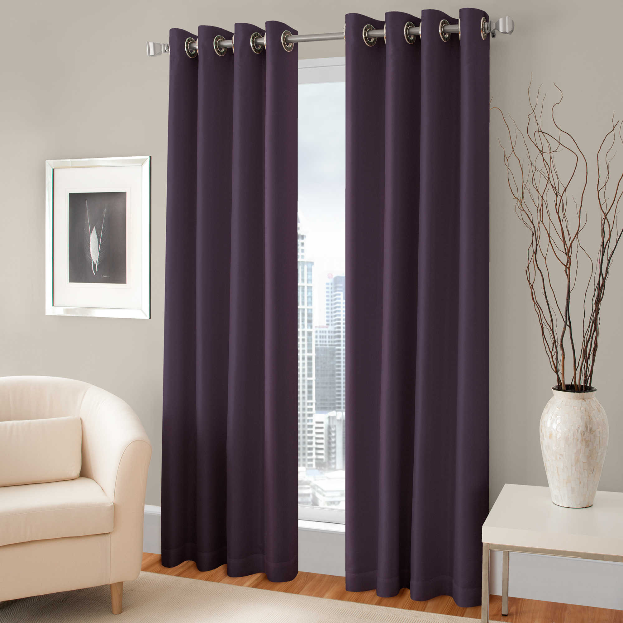 top interior patterned purple treatment plush window decofurnish for curtain grommet curtains dark idea designs