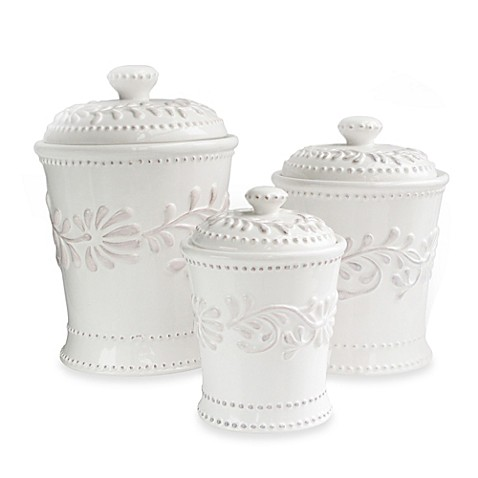Image Of American Atelier Bianca Leaf 3 Piece Canister Set