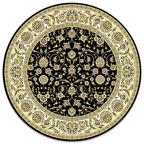 Safavieh Lyndhurst Black Scroll Pattern 8 Foot Round Rug