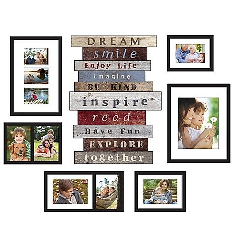 image of wallverbs 7 piece stacked sentiment box frame set in black