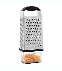 Rallador de alimentos con hojas de acero inoxidable OXO Good Grips® con contenedor